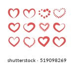 set of hand drawing red heart | Shutterstock .eps vector #519098269