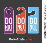 do not disturb sign. hotel door ... | Shutterstock .eps vector #519119917