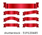 red ribbons set. satin blank... | Shutterstock .eps vector #519120685