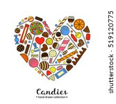 hand drawn colorful candies... | Shutterstock .eps vector #519120775