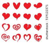 valentine heart symbols. vector ... | Shutterstock .eps vector #519122371