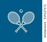 tennis racket cross line icon... | Shutterstock .eps vector #519127171