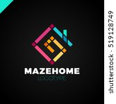 abstract house logo design... | Shutterstock .eps vector #519128749