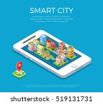flat isometric buildings on... | Shutterstock .eps vector #519131731