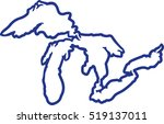 great lakes silhouette contour | Shutterstock .eps vector #519137011