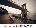 brooklyn bridge in a foggy day... | Shutterstock . vector #519143791