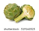 whole and slice artichoke... | Shutterstock . vector #519163525