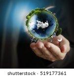 globe  earth in human hand ...   Shutterstock . vector #519177361