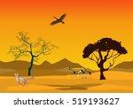 yellow colored desert landscape ... | Shutterstock .eps vector #519193627
