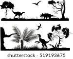 Horizontal monochrome vector silhouettes illustration of ancient dinosurus wildlife scenes   Shutterstock vector #519193675