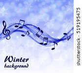 christmas background with wave... | Shutterstock .eps vector #519195475
