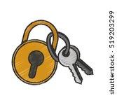 isolated keys and padlock design | Shutterstock .eps vector #519203299