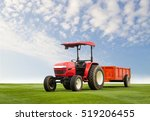 red tractor with trailer on a... | Shutterstock . vector #519206455