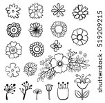 set of flower doodles   Shutterstock .eps vector #519209215