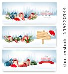 three christmas banners with...