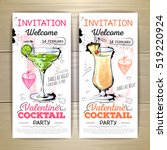 valentine cocktail party poster.... | Shutterstock .eps vector #519220924