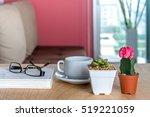 cactus  succulent pots   coffee ... | Shutterstock . vector #519221059