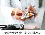 female doctor hand holding pack ... | Shutterstock . vector #519223267