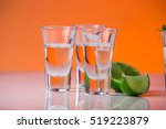 tequila shot with a slice of... | Shutterstock . vector #519223879