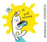 good morning. sunny day. funny... | Shutterstock .eps vector #519225211