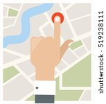 hand and button on the map | Shutterstock .eps vector #519238111
