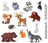 cartoon forest animals set with ... | Shutterstock .eps vector #519251239