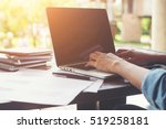 business woman hand typing on... | Shutterstock . vector #519258181