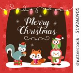 Christmas Card With Cute...