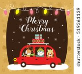 christmas card with cute... | Shutterstock .eps vector #519261139