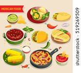 mexican food set with... | Shutterstock . vector #519269509
