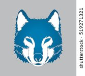 Blue Wolf Face Front View...