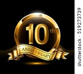 10 years golden anniversary... | Shutterstock .eps vector #519273739