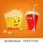 popcorn and soda characters... | Shutterstock .eps vector #519277141