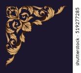 gold vintage baroque corner... | Shutterstock .eps vector #519277285