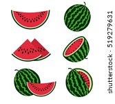 watermelons and watermelon... | Shutterstock . vector #519279631