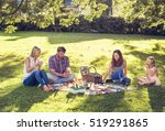 family picnic outdoors... | Shutterstock . vector #519291865