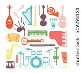 musical instruments isolated on ... | Shutterstock .eps vector #519293131