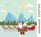 santa claus relax warm bath...   Shutterstock .eps vector #519297391