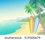 tropic beach summer landscape.... | Shutterstock .eps vector #519300679
