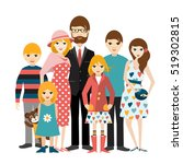 big family with many children.... | Shutterstock .eps vector #519302815