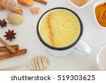turmeric latte  golden milk  ... | Shutterstock . vector #519303625