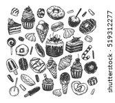 vector sweets. set of hand... | Shutterstock .eps vector #519312277