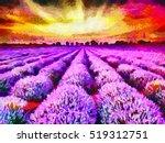 lavender fields during sunrise  ...   Shutterstock . vector #519312751