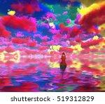 Figure In Red Cloak In A Boat....