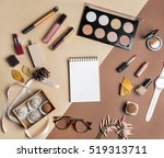 feminine flatlay top view on... | Shutterstock . vector #519313711