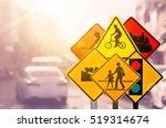 set of traffic warning sign on... | Shutterstock . vector #519314674
