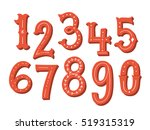 hand drawn vintage numbers set | Shutterstock .eps vector #519315319