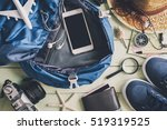 overhead view of traveler's... | Shutterstock . vector #519319525