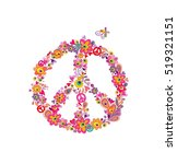 hippie print with peace flower... | Shutterstock .eps vector #519321151