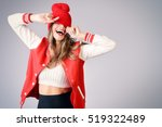 cool cheerful girl with bright... | Shutterstock . vector #519322489